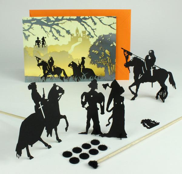 Description du contenu de la carte postale-silhouettes moyen-age. Une carte postale, une envellope de couleur, des silhouettes de cartons. Un cadeau à envoyer, des silhouettes à collectionner. Raconter des silhouettes en théâtre d'ombres avec les baguettes ou avec les figurines en carton qui tiennent grâce à leurs supports.